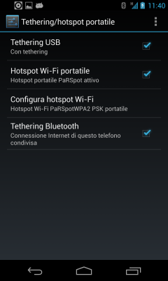Android Tethering USB, Hotshot Wi-Fi e Tethering Bluetooth