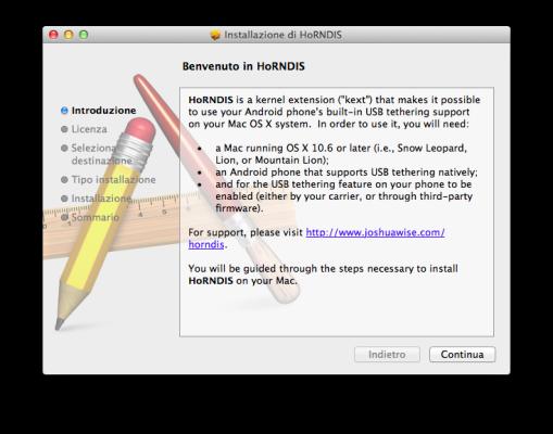 HoRNDIS - Installazione driver RNDIS per Tethering USB Mac